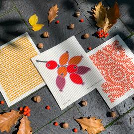 Swedish Dishcloth Set of 3, Fall Rosehip Grove